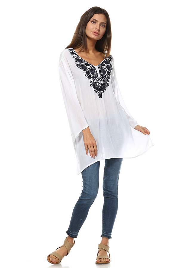 Long Sleeve White Tunic Top with Blue Embroidery