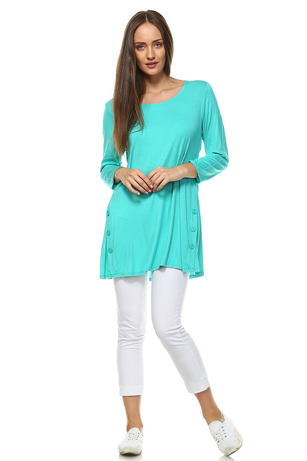 Long Sleeve Tunic Top - Jade