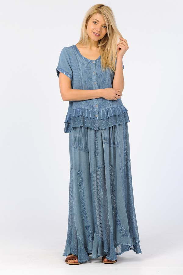 Copy of 100% Rayon Skirt - Blue
