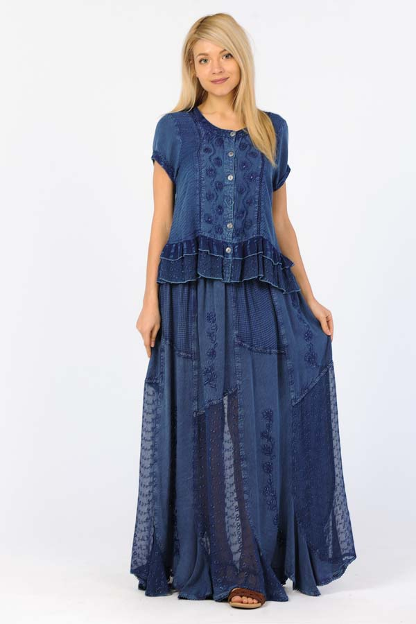 Copy of 100% Rayon- Skirt Denim Blue