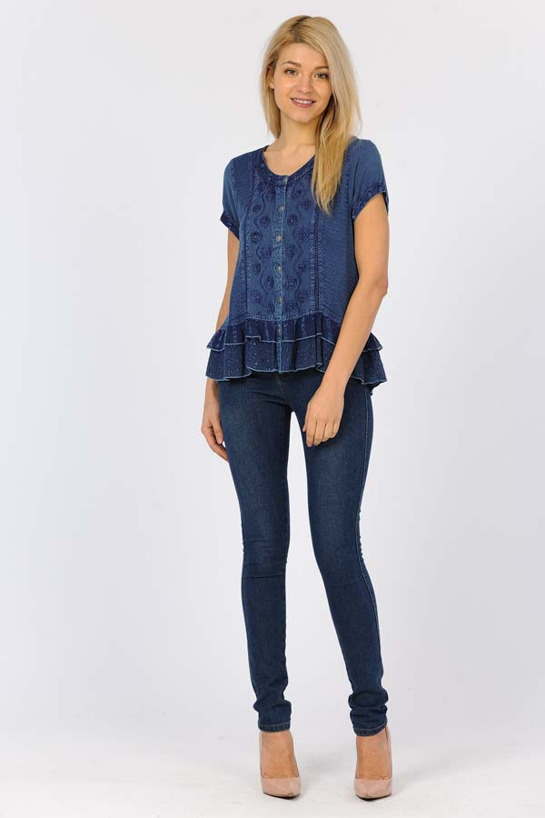 100% Rayon Short Sleeve Top - Denim Blue
