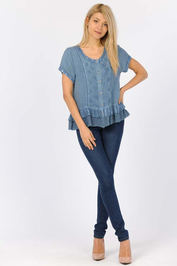 100% Rayon Short Sleeve Top - Blue