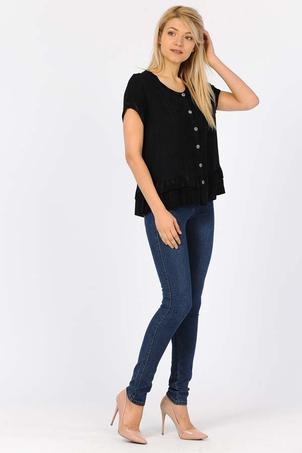 100% Rayon Short Sleeve Top - Black