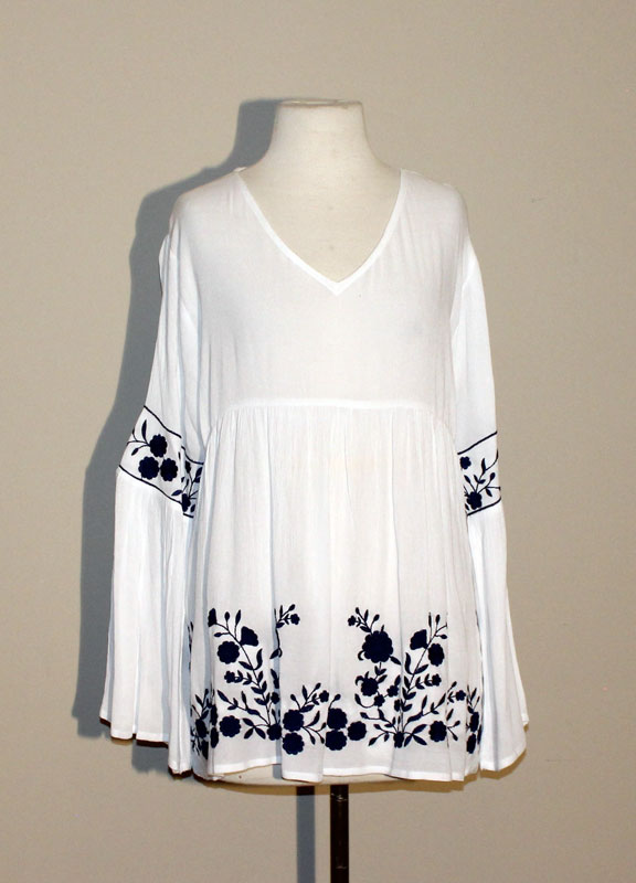 Long Sleeve White Tunic Top with Royal Blue Embroidery