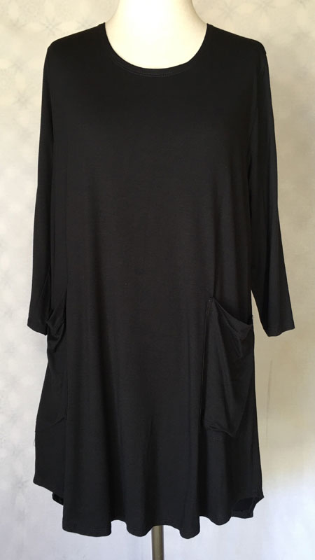 3/4 Sleeve Front Pocket Tunic Top - Black