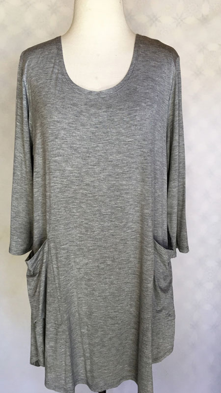 3/4 Sleeve Front Pocket Tunic Top - Solid Grey