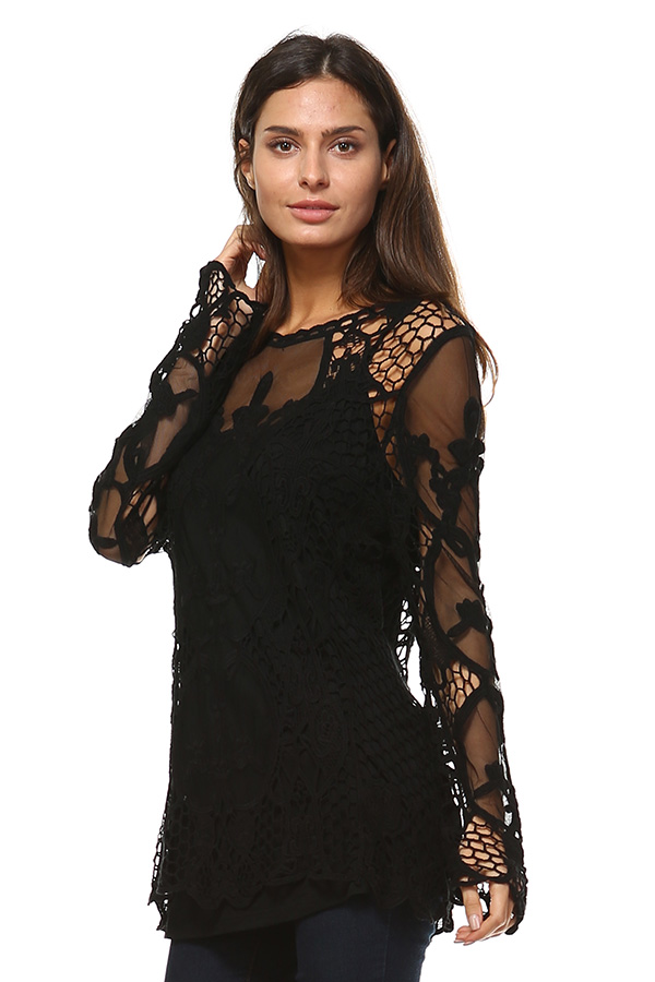 Full Sleeve Mesh Tunic Top with Crochet Work - Black