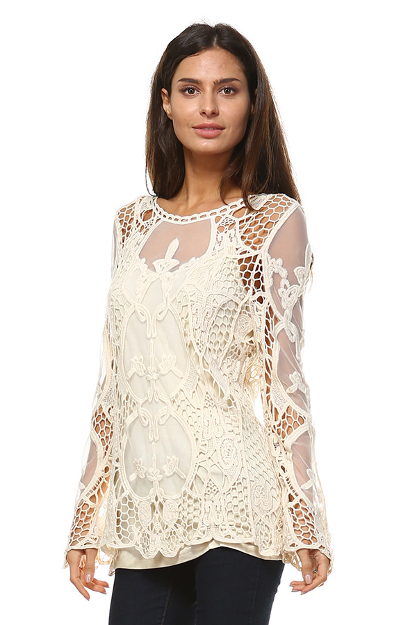 Full Sleeve Mesh Tunic Top with Crochet Work - Natural