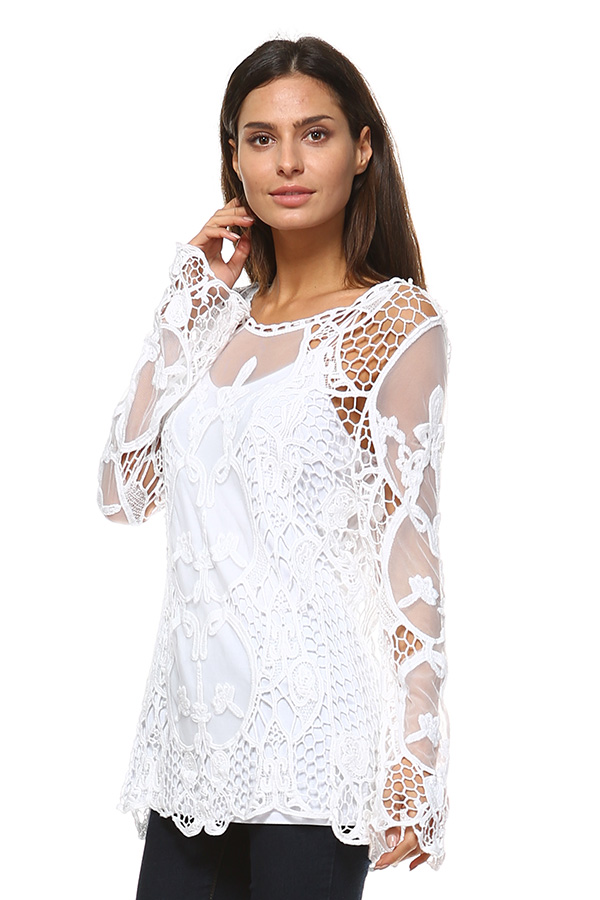 Full Sleeve Mesh Tunic Top with Crochet Work - White