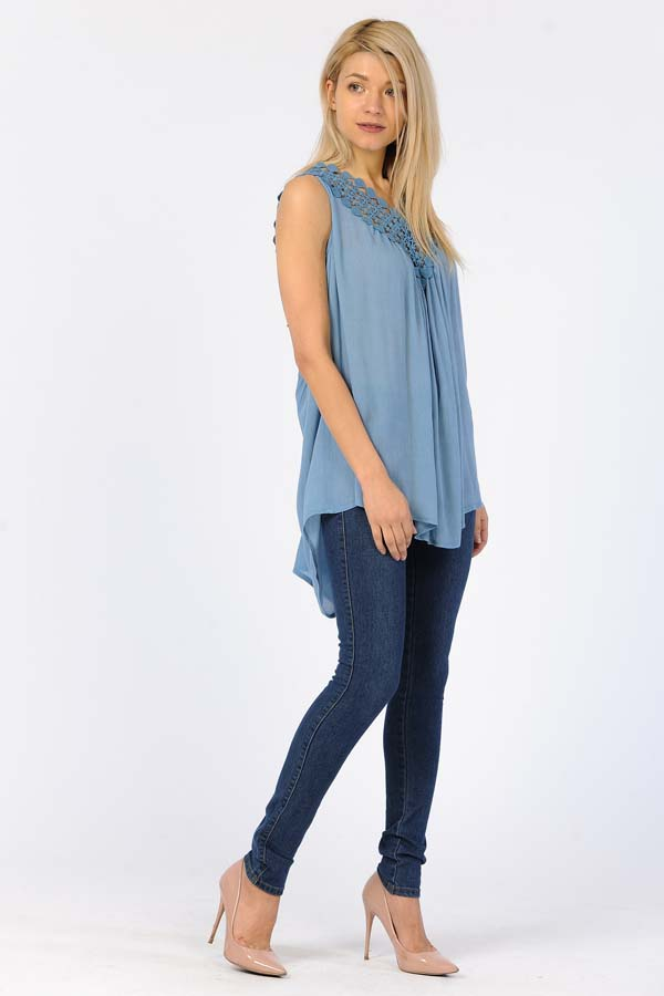 Tunic Top - Sleeves Less Crochet Work On Neck Blue