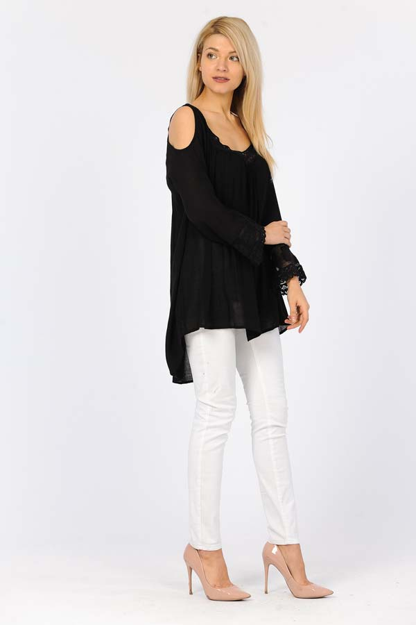 Full Sleeve Tunic Top - Black