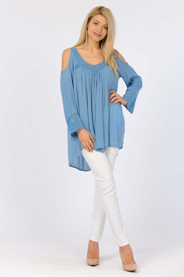 Full Sleeve Tunic Top - Blue Sand Wash