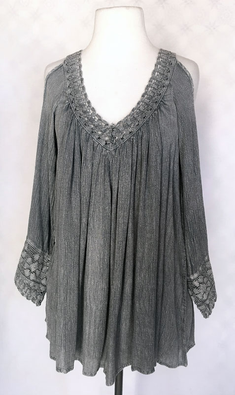 Full Sleeve Tunic Top - Charcoal Sand Wash