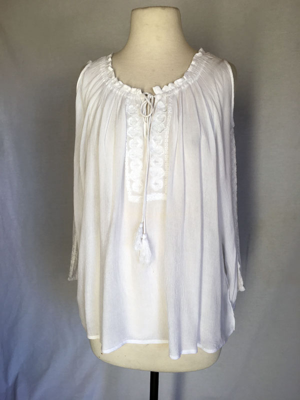 White Tunic Top with White Emb on neck & Arm cold shoulder