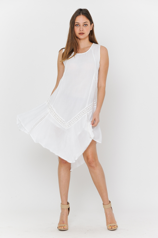 Tank Dress - Sleeves Less White With Crochet Work