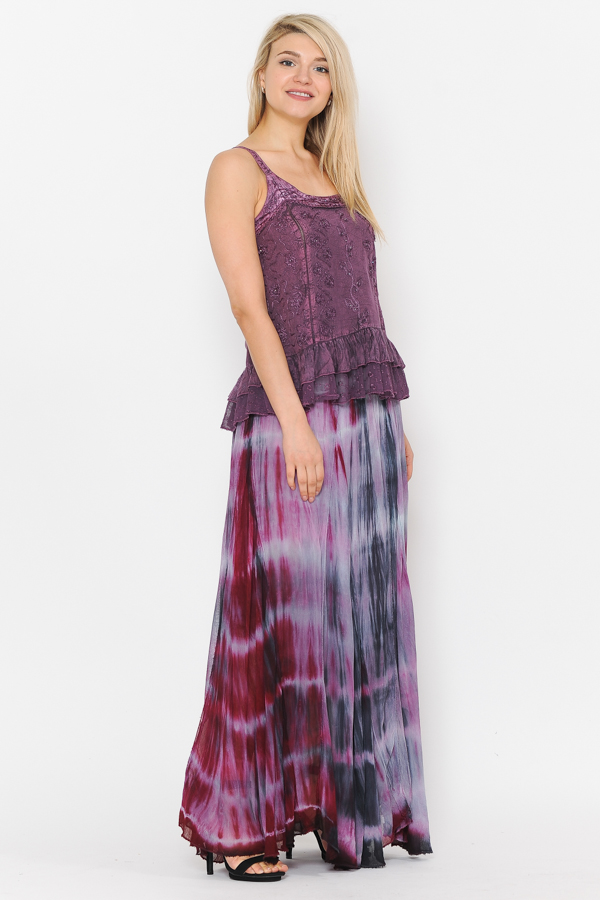 100% Rayon Ombray Skirt - Magenta