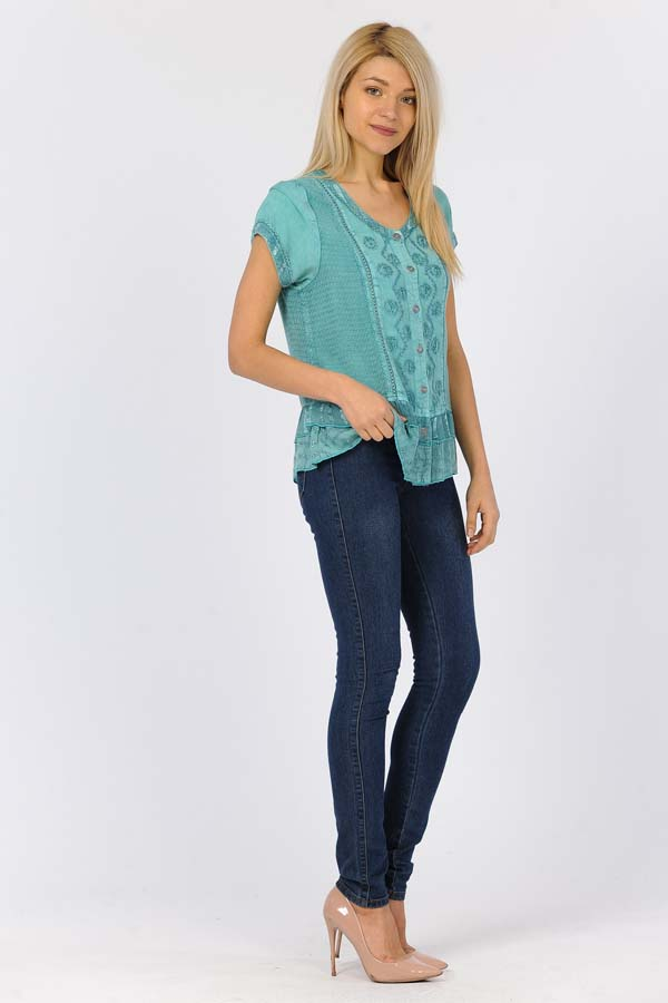 100% Rayon Short Sleeve Top - Jade