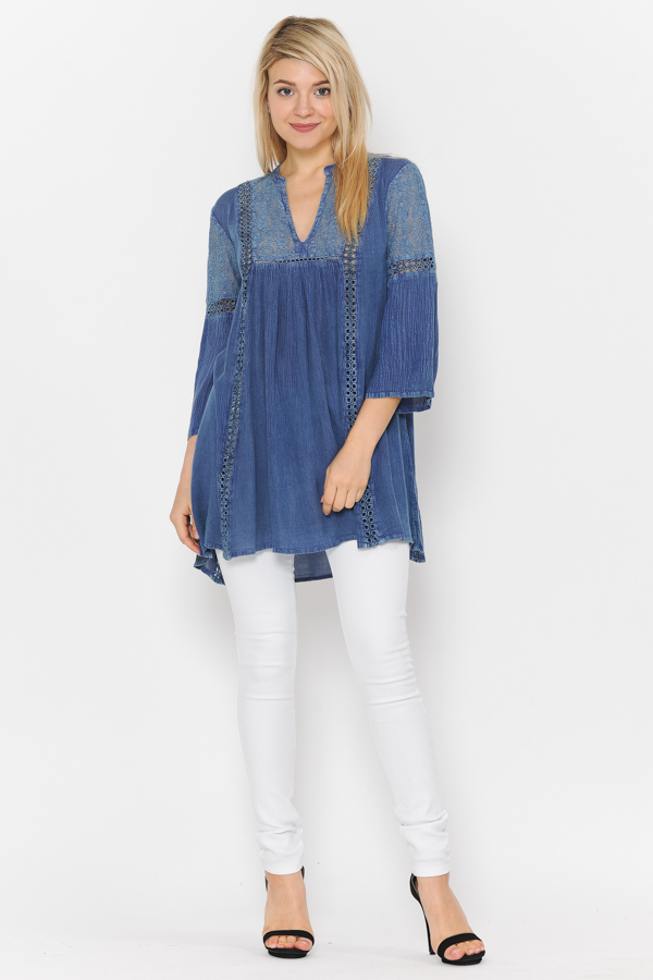 Tunic 3/4 Sleeves Crochet & lace Work Blue