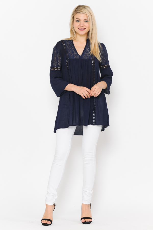 Tunic 3/4 Sleeves Crochet & lace Work