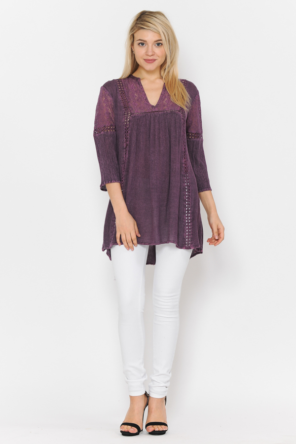Tunic 3/4 Sleeves Crochet & lace Work Purple