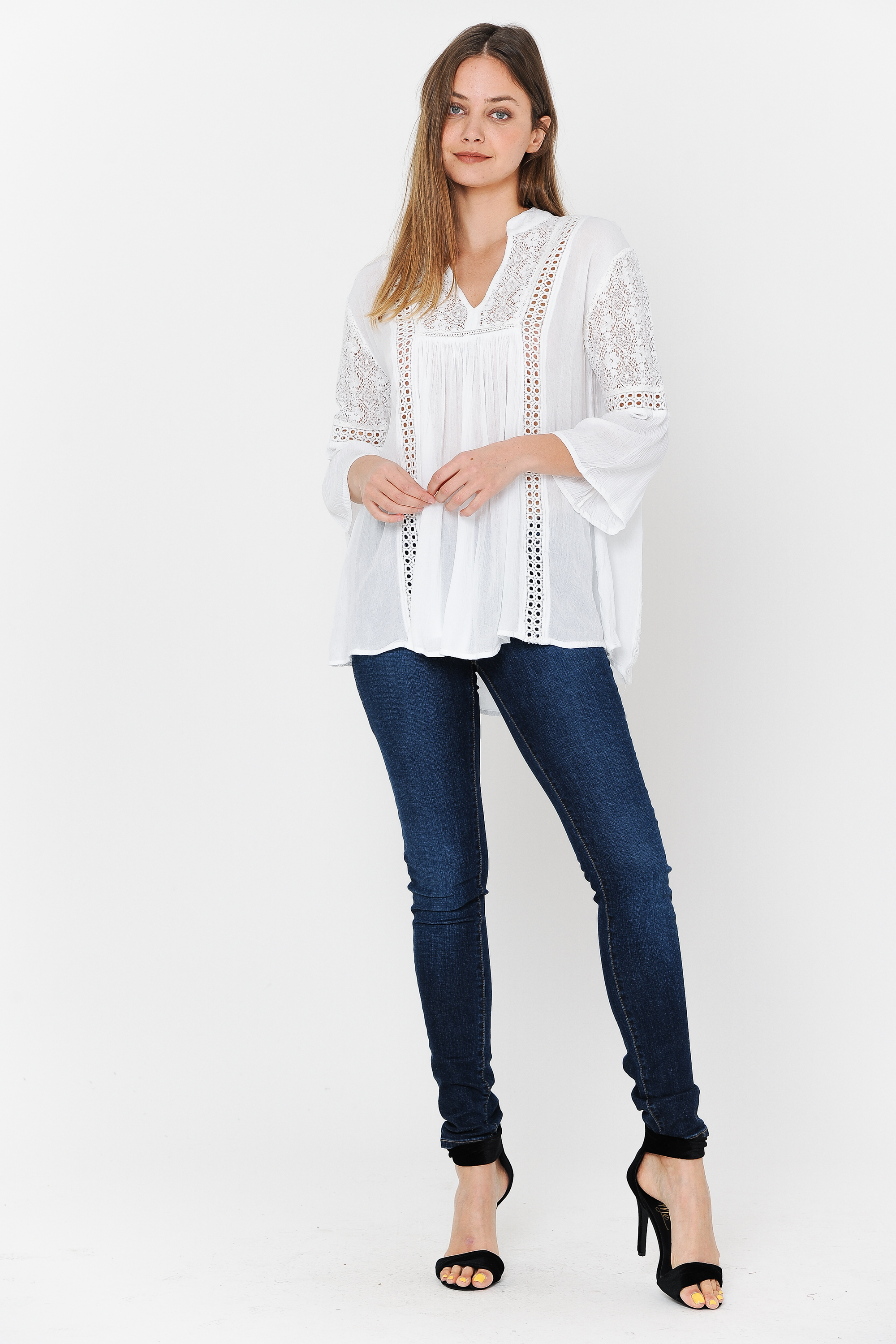Tunic 3/4 Sleeves Crochet & lace Work White