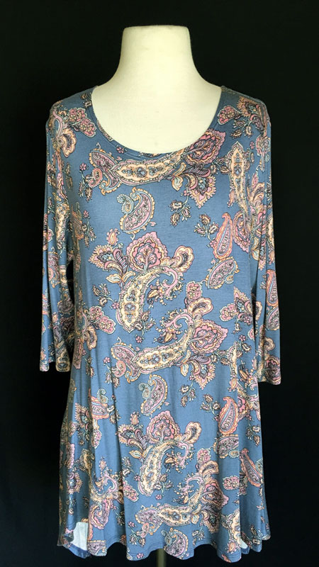3/4 Sleeve Tunic Top - Blue Print
