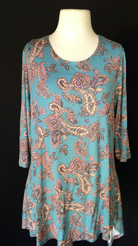 3/4 Sleeve Tunic Top - Teal Print