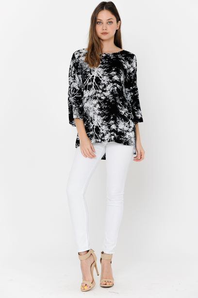 Black/White Print Blouse Bell Sleeves Side Spilt