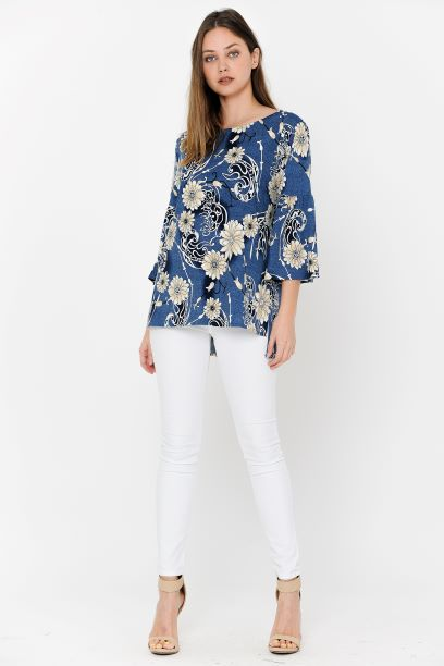 Blue Print Blouse Bell Sleeves Side Spilt