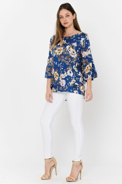 Royal Blue Print Blouse Bell Sleeves Side Spilt