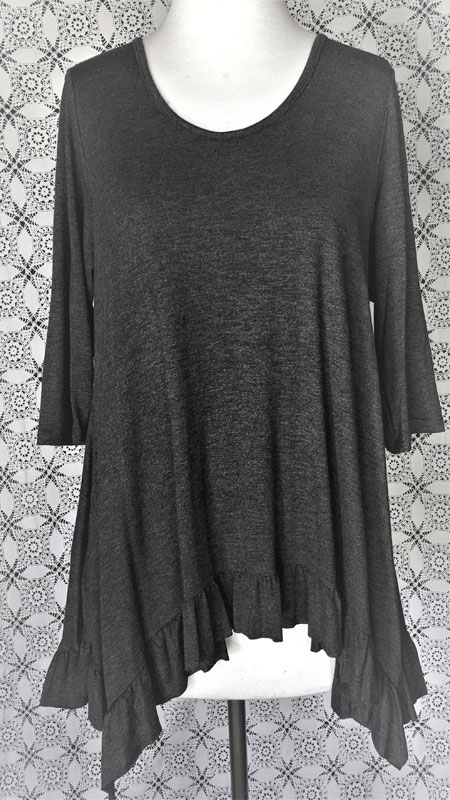 3/4 Sleeve Ruffle Tunic Top - Charcoal Grey