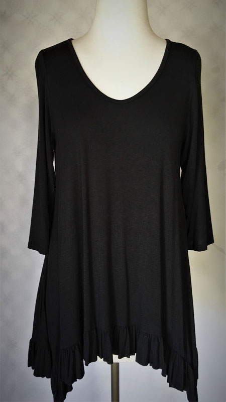 3/4 Sleeve Ruffle Tunic Top - Black