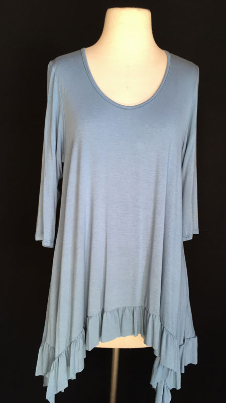 3/4 Sleeve Ruffle Tunic Top - Ocean Blue