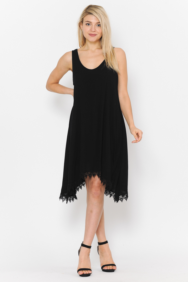 Solid Tank Dress - Black