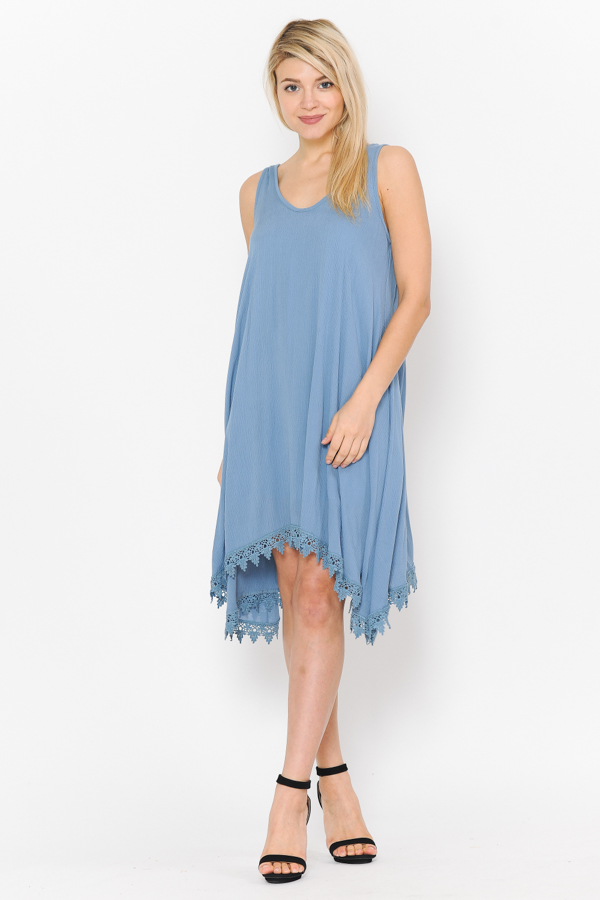 Solid Tank Dress - Blue