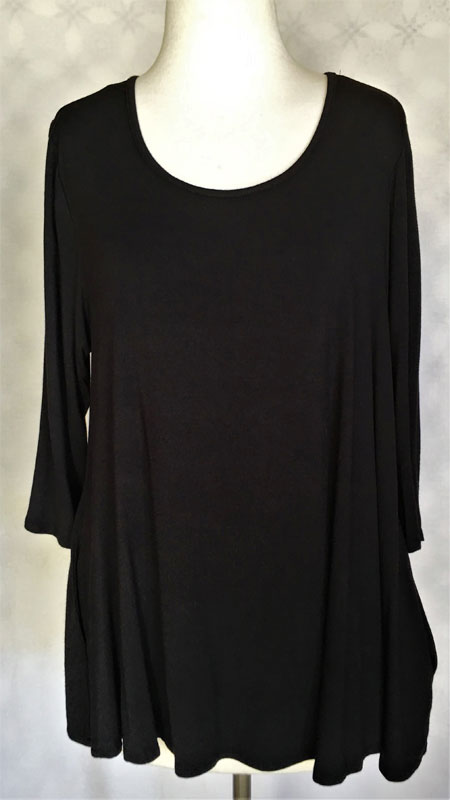 3/4 Sleeve Pocketed Tunic Top - Black