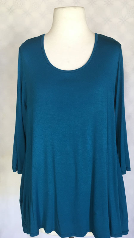 3/4 Sleeve Pocketed Tunic Top - Teal