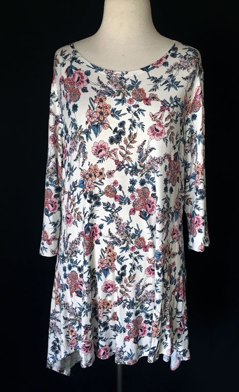 3/4 Sleeve Tunic Top - Ivory Print