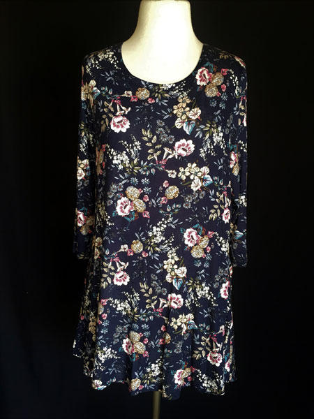 3/4 Sleeve Tunic Top - Navy Print