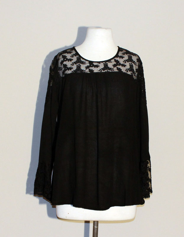 Lace Neck Tunic Top - Black