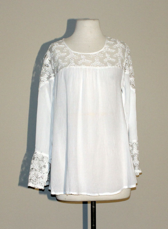 Lace Neck Tunic Top - White