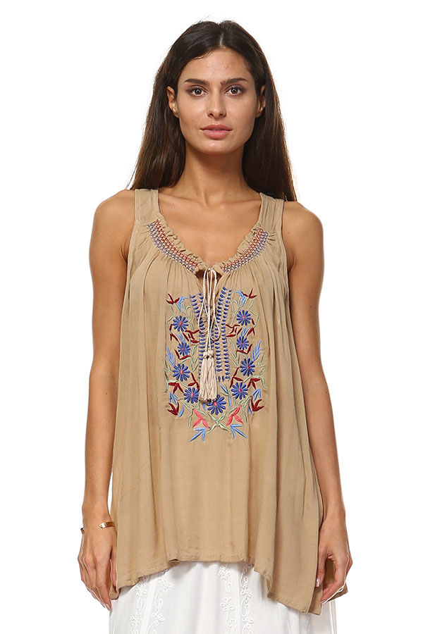 Embroidery Tank Top - Sand