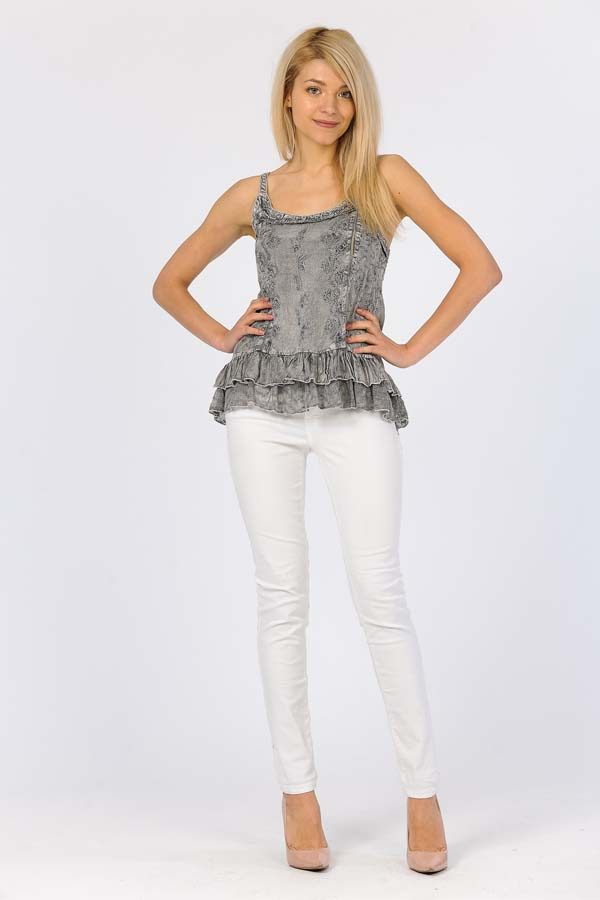 Sandwash Embroidered Tank - Charcoal