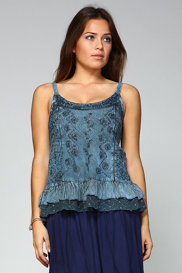 Sandwash Embroidered Tank - Blue