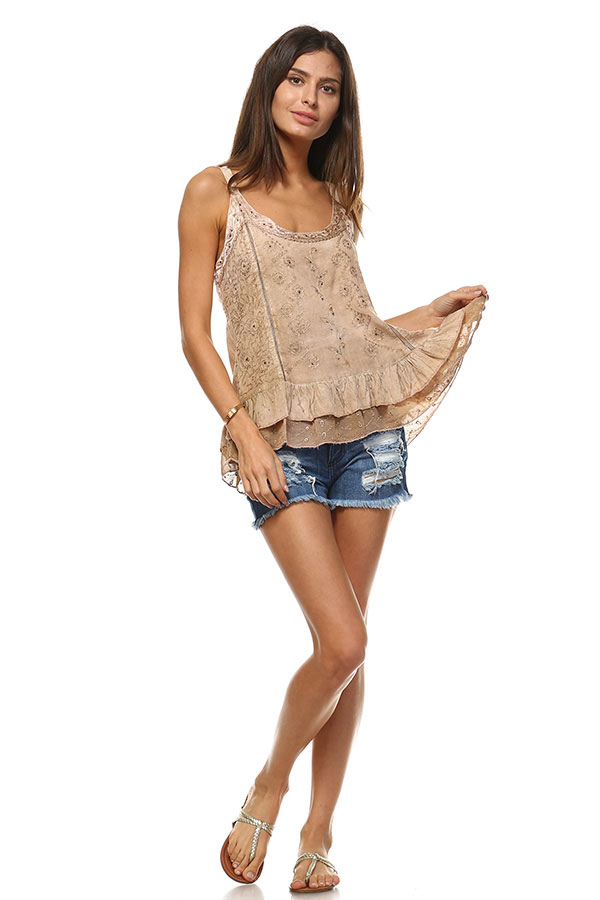 Sandwash Embroidered Tank - Fawn
