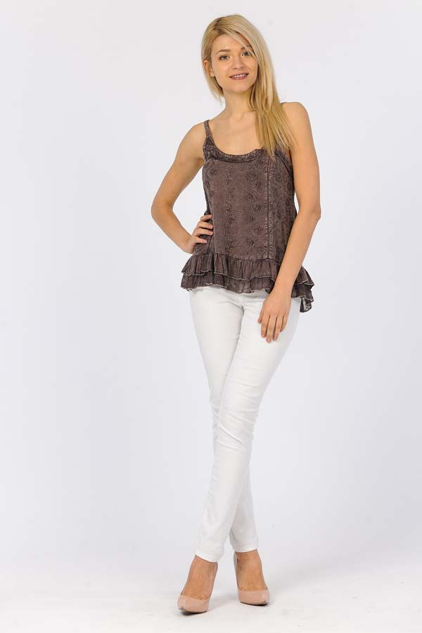 Sandwash Embroidered Tank - Chocolate