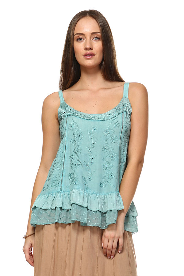 Sandwash Embroidered Tank - Jade