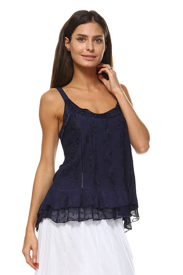 Sandwash Embroidered Tank - Navy