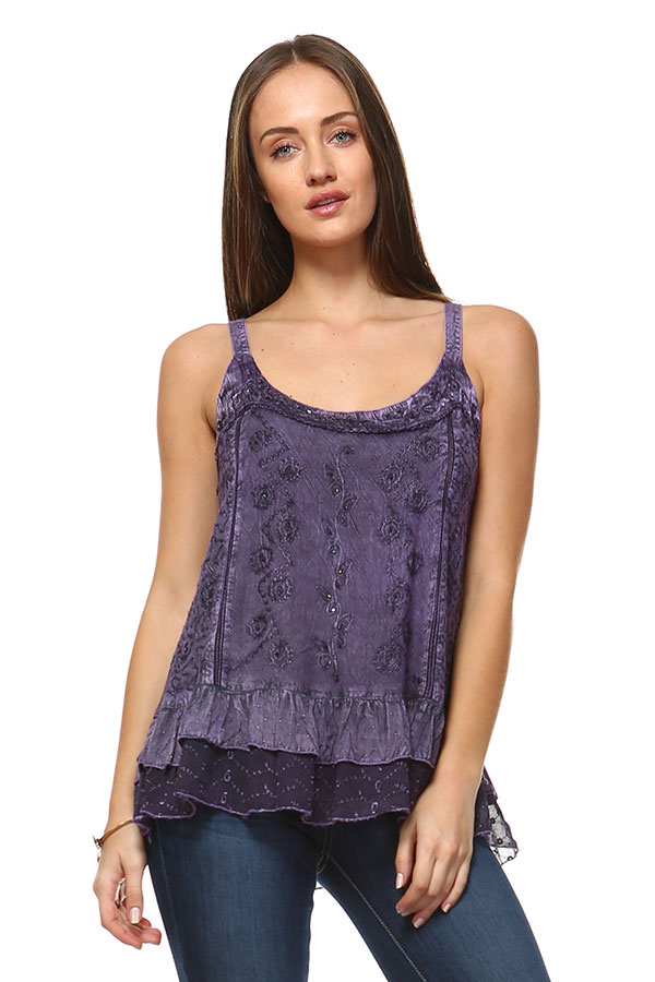 Sandwash Embroidered Tank - Ecru