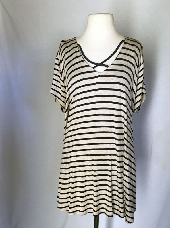 Ivory/Black Stripped Top